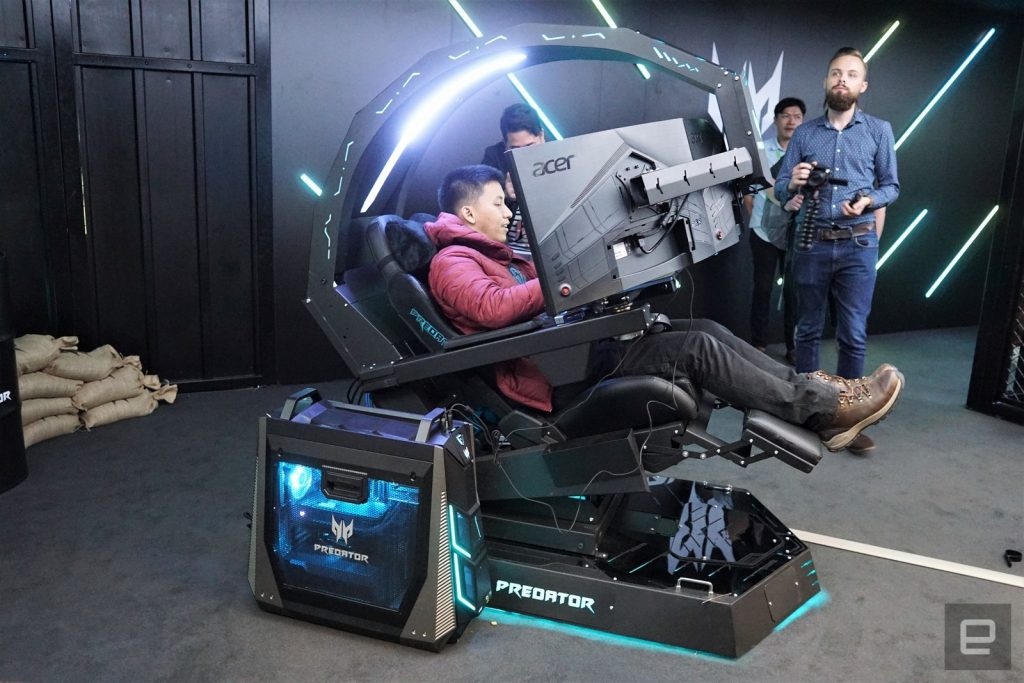 Acer Predator Thronos demonstrates the new gaming chair.