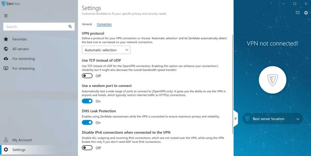 zenmate vpn settings