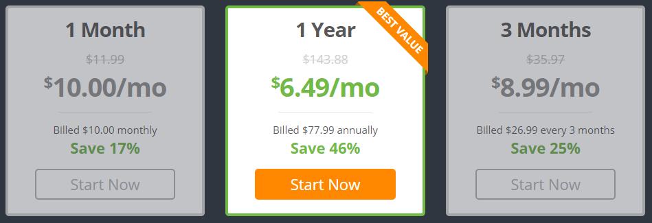 IPVanish plan pricing