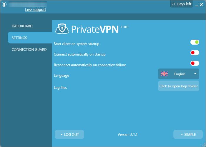 private vpn settings